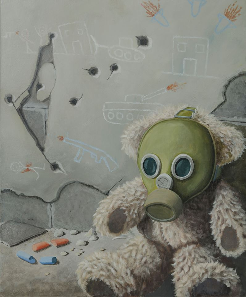 Stefano-gentile-art-pop-teddy_bear-gas-mask-palestine