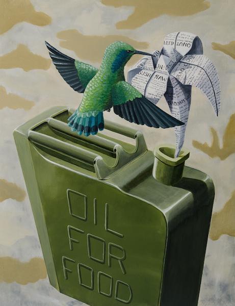 Oil-for-fraud-stefano-gentile-iraq-hummingbird-animal-colibrì-origami-military-art