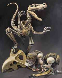 Stefano gentile_art-painting-dinosaurs-vultures-velociraptor-surreal