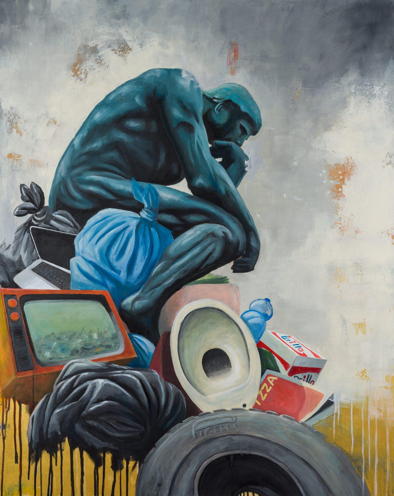 stefano-gentile-art-pop-arte-garbage-rodin-painting
