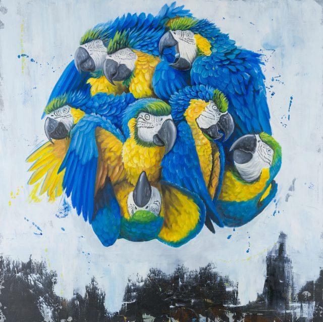 stefano-gentile-ara-macao-macaw-parrot-arte-pop-painting
