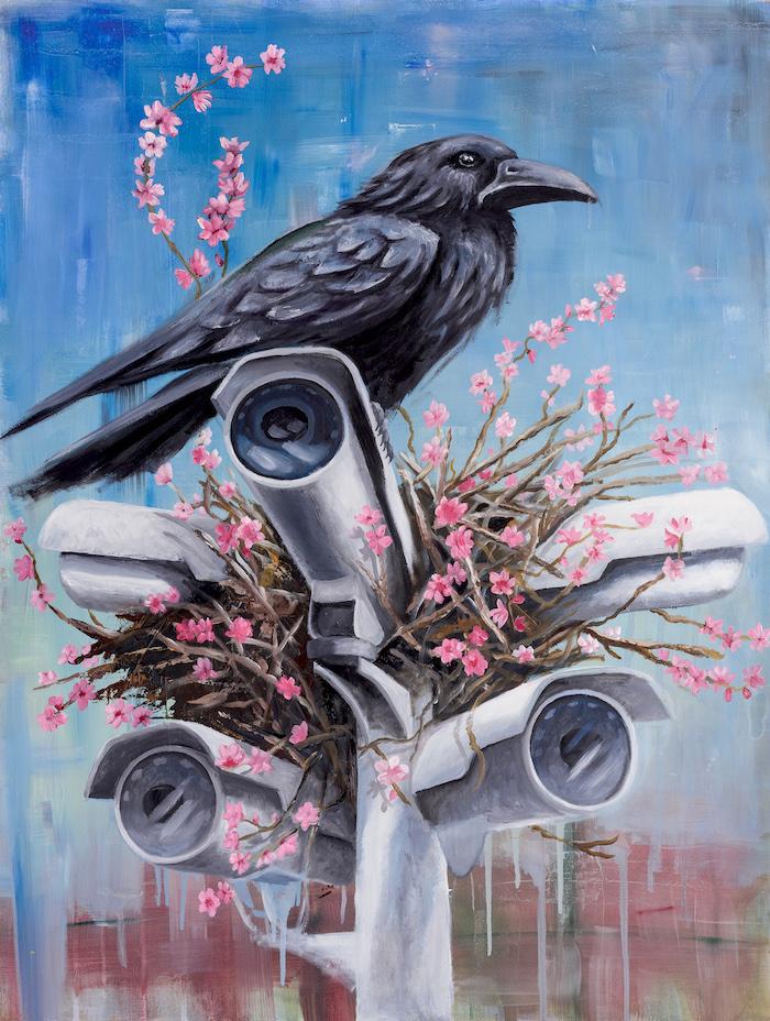Blind zone-stefano-gentile-art-pop-raven-cctv-painting-corvo