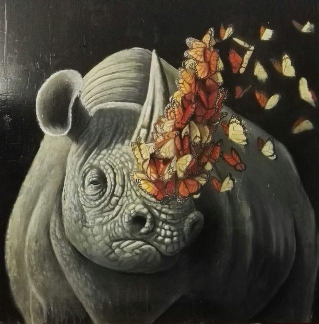 stefano-gentile-art-pop-rhino-butterfly-corno-poaching