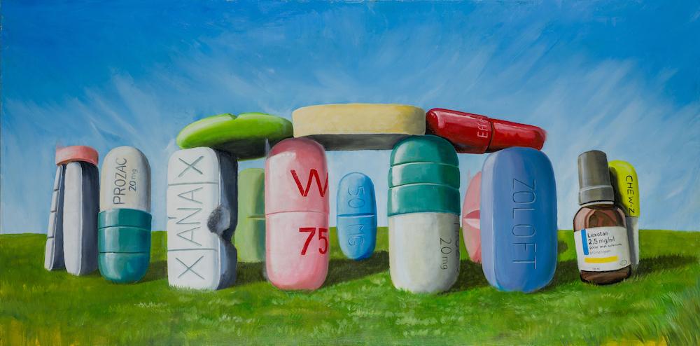 Pursuit of Happiness-stefano-gentile-art-pop-stonehenge-prozac-lexotan-drugs