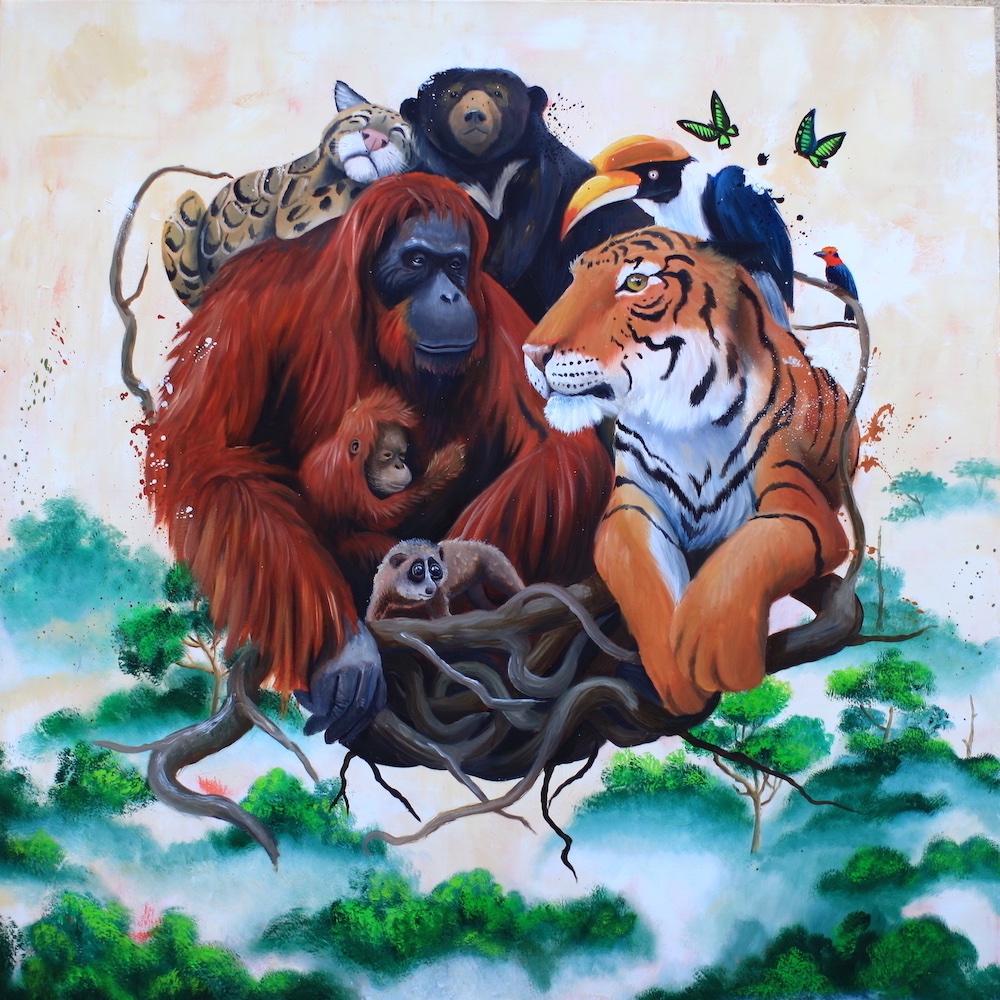 stefano-gentile-art-pop-animal-jungle-rainforest-tiger-monkey