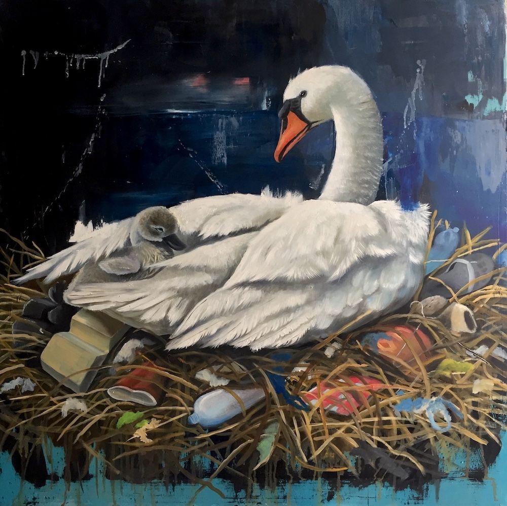 stefano-gentile-art-pop-cigno-nido-love-swan