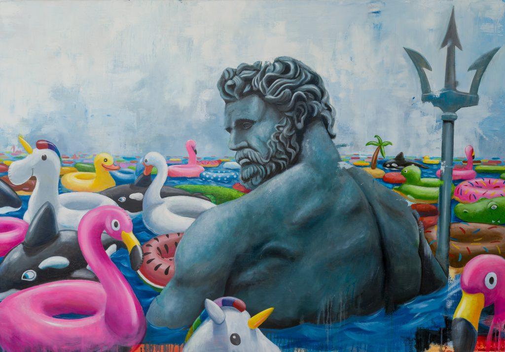poseidon-statua-art-giambologna-stefano-gentile-pop-fenicotteri-unicorni-mare