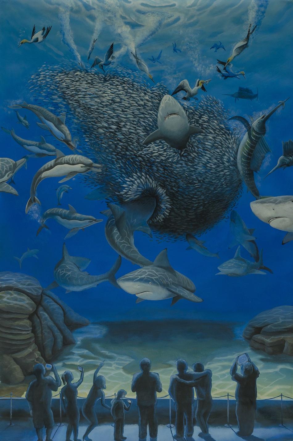 Genocide-stefano-gentile-sardines-profughi-immigrazione-aquarium-art-pop